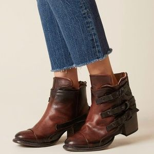 Freebird by Steven Circe Rust Leather Ankle Boots